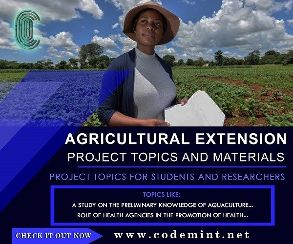 Agricultural Extension Final Year Research Project Topics