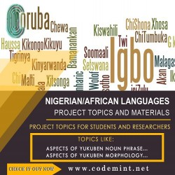 NIGERIAN/AFRICAN LANGUAGES Research Topics