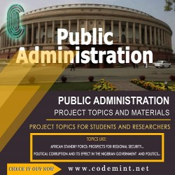 PUBLIC ADMINISTRATION Research Topics