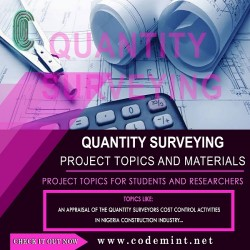 QUANTITY  SURVEYING Research Topics