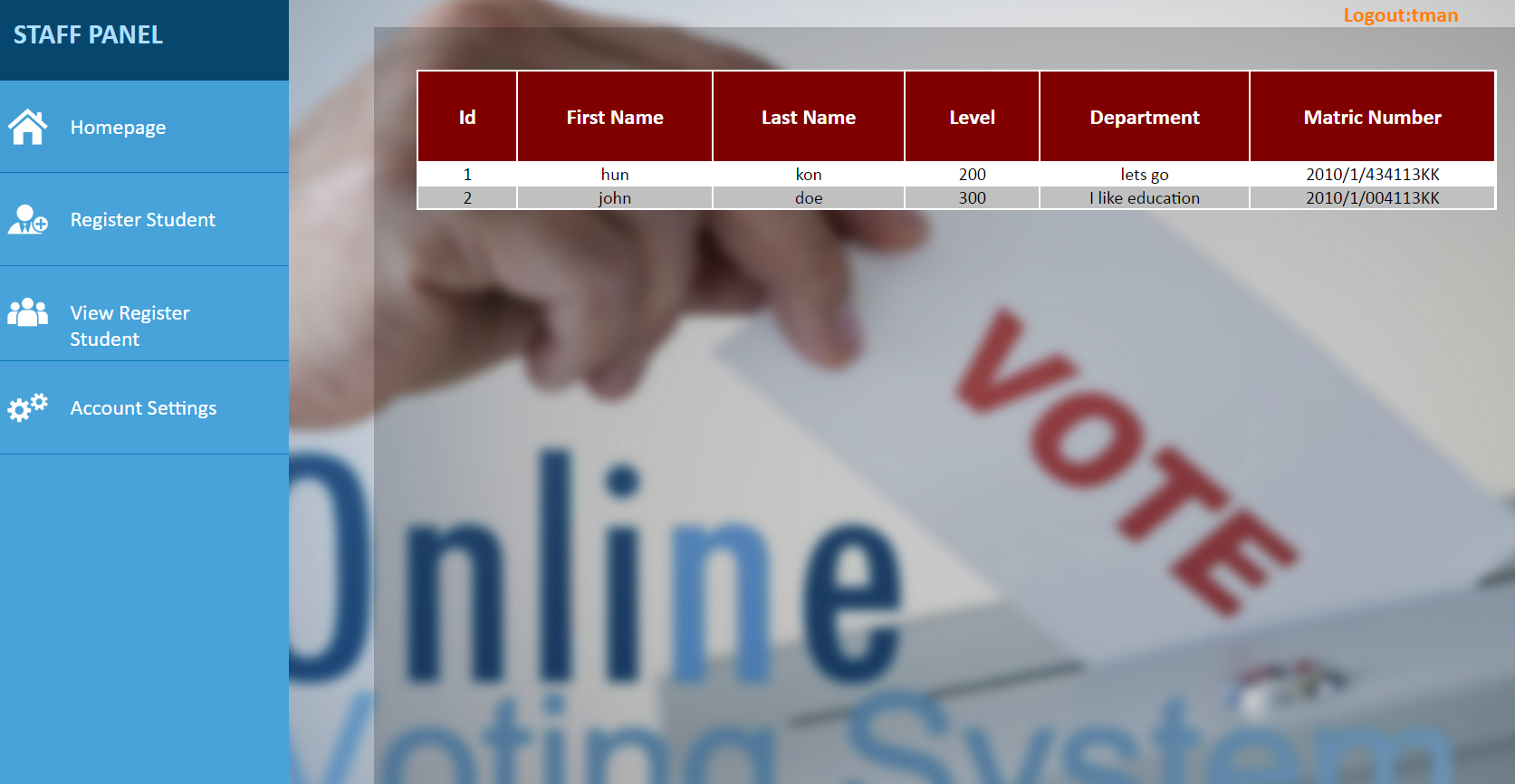 Online Voting System Using PHP
