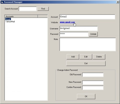 Password Management using VB