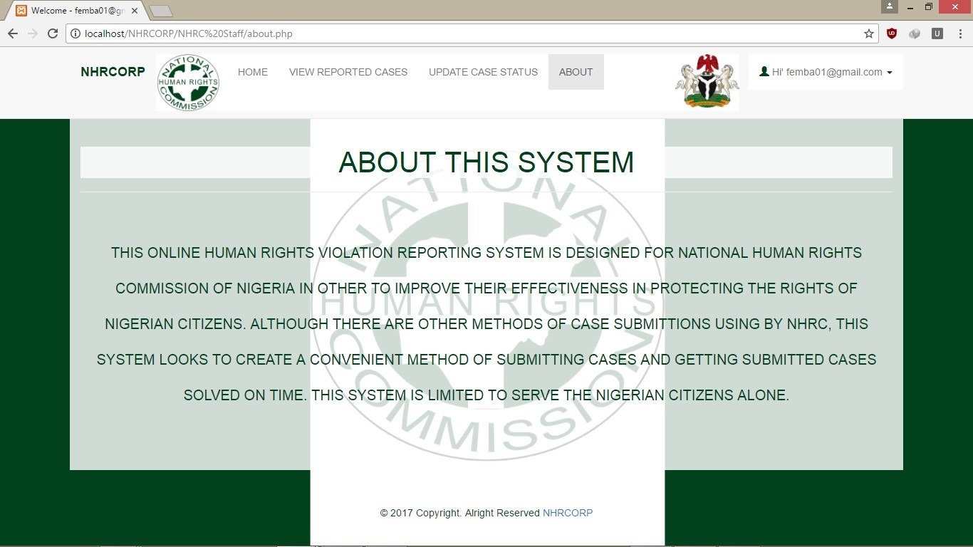 DEVELOPMENT OF A WEB BASED HUMAN RIGHTS VIOLATION REPORTING SYSTEM FOR NATIONAL HUMAN RIGHTS  COMMISSION