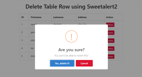 How to Delete Table Row using Sweetalert2 with PHP/MySQLi