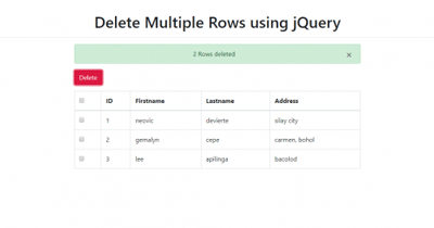 How to Delete Multiple Rows using jQuery