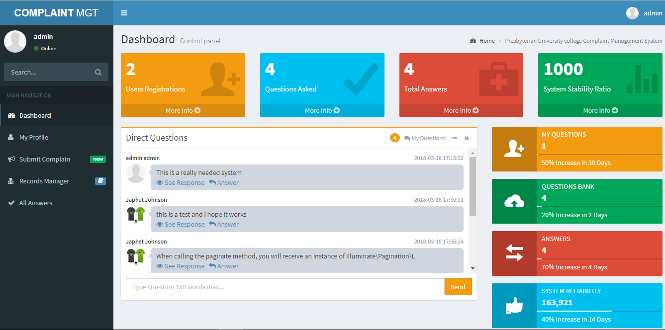 Design and Implementation of a Complaint Management System for University