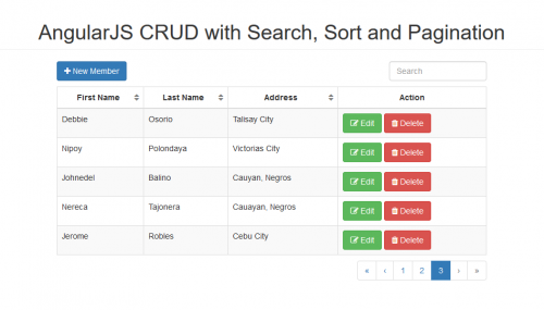 AngularJS CRUD with Search, Sort and Pagination with PHP/MySQLi
