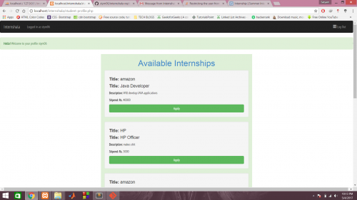 Internship Portal using PHP and Bootstrap
