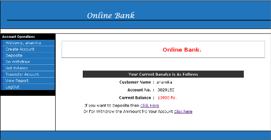 Online Banking System Using JAVA