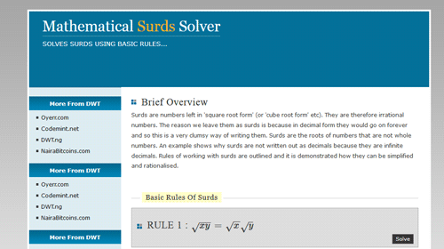 MATHEMATICAL SURDS SOLUTION SYSTEM - CodeMint Mint for Sale