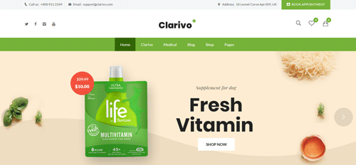 MULTIPURPOSE FULL-RESPONSIVE PHARMACY WEBSITE WITH ONLINE STORE AND APPOINTMENT BOOKING - CodeMint Mint for Sale