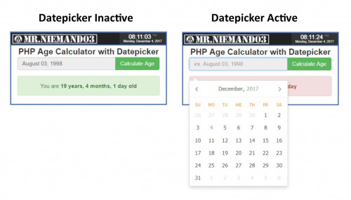 PHP Age Calculator with Datepicker